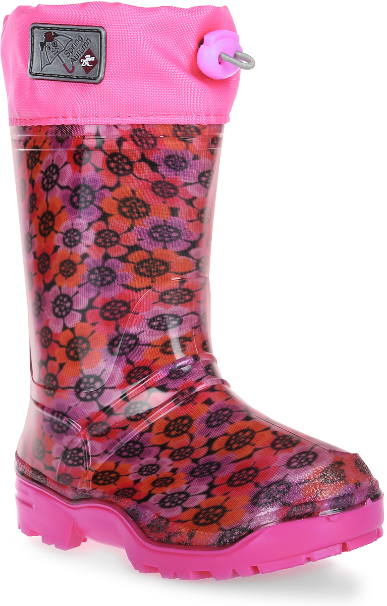 Сапоги резиновые для девочки Дюна, цвет: розовый, красный. 270/02 РУ НТП. Размер 32270/02 РУ НТПРезиновые сапоги Дюна - идеальная обувь в холодную дождливую погоду для вашей девочки. Сапоги выполнены из качественной резины. Голенище оформлено ярким принтом. Подкладка и стелька из текстиля обеспечат комфорт. Текстильный верх голенища регулируется в объеме за счет шнурка со стоппером. Подошва дополнена рифлением.