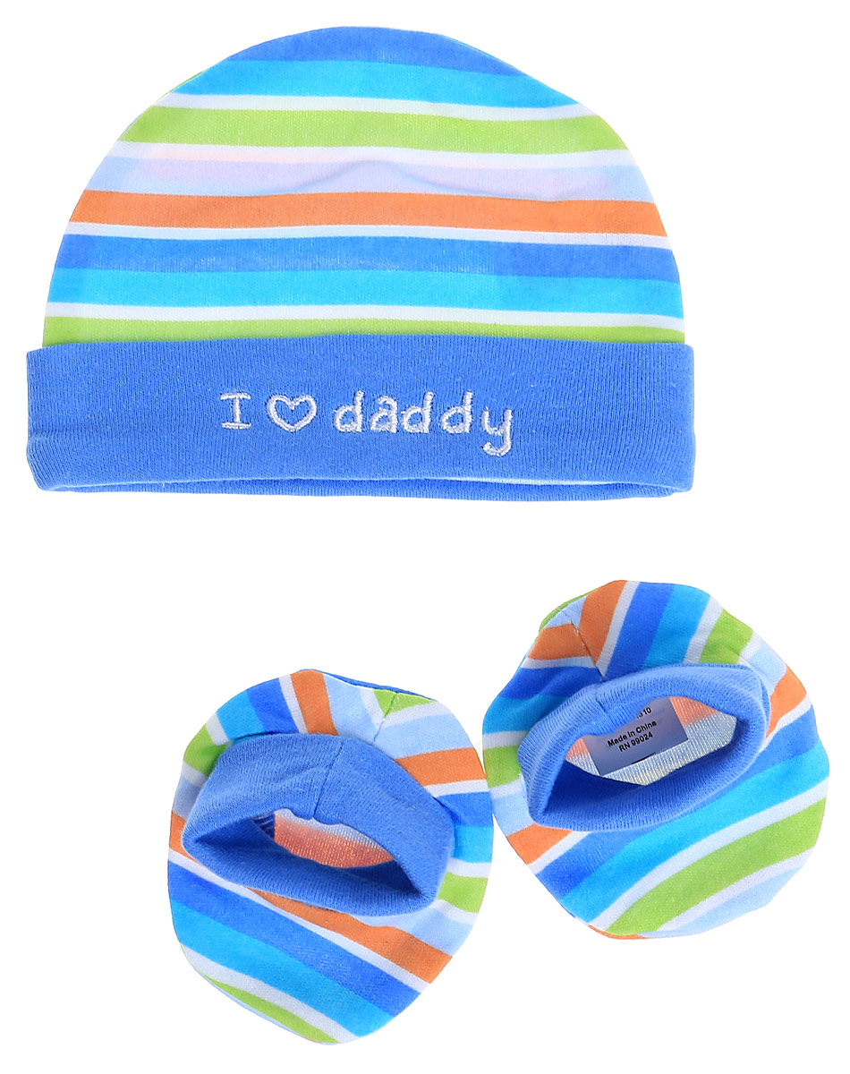 Комплект для мальчика Luvable Friends Люблю папу: шапочка, пинетки, цвет: голубой, оранжевый, салатовый. 34545. Размер 55/67, 0-6 месяцев34545Комплект для мальчика Luvable Friends Люблю папу состоит из шапочки и пинеток. Изделия изготовлены из мягкого хлопка, приятны на ощупь, хорошо пропускают воздух.Шапочка необходима любому младенцу, она защищает еще не заросший родничок, щадит чувствительный слух малыша, прикрывая ушки, а также предохраняет от теплопотерь. На шапочке предусмотрен декоративный отворот, украшенный вышитой надписью. Пинетки дополнены мягкой трикотажной вставкой для удобной фиксации на ножке ребенка. Комплект оформлен принтом в полоску. В таком комплекте одежды малышу будет уютно и комфортно!