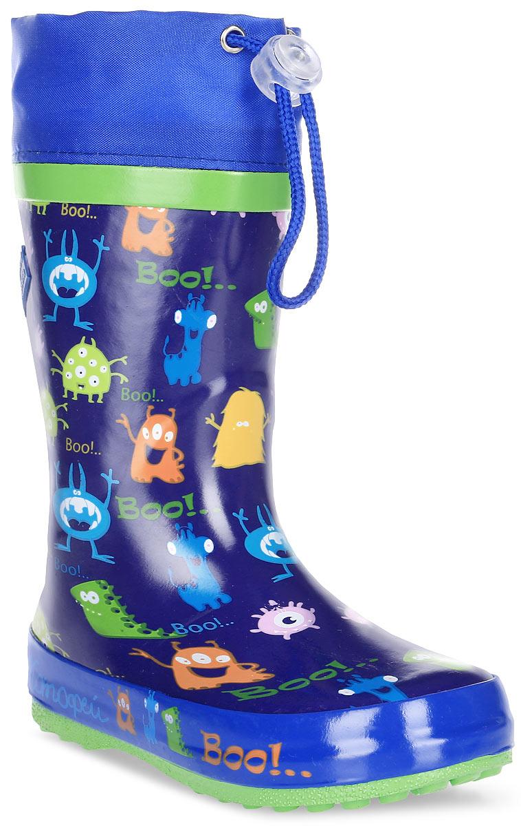 Сапоги резиновые для мальчика Котофей, цвет: синий. 366155-11. Размер 29366155-11Резиновые сапоги для мальчика от Котофей - идеальная обувь в дождливую погоду. Сапоги выполнены из качественной резины. Подкладка и стелька выполнены из текстильных материалов, которые обеспечивают полный комфорт при носке. Также сапоги дополнены текстильным верхом, объем которого регулируется с помощью шнурка со стоппером. Утолщенная подошва выполнена из ТЭП-материала с высокой устойчивостью к истиранию.