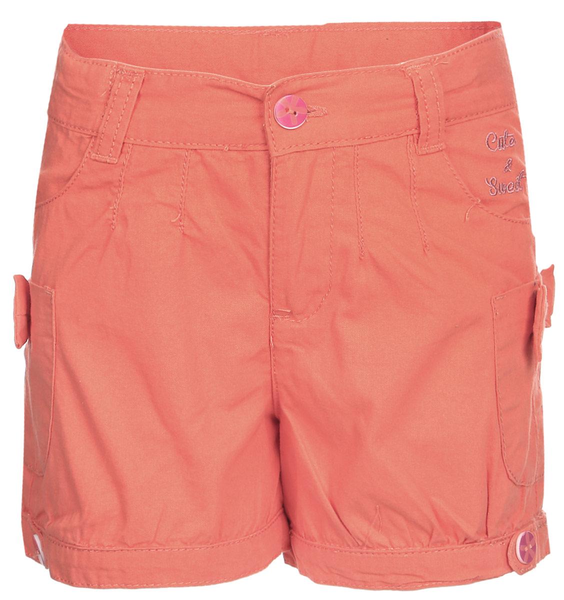 Шорты для девочки Cherubino, цвет: розовый. CK 7T019. Размер 98CK 7T019Шорты для девочки Cherubino из хлопкового текстиля, с карманами. Декорированы пуговицами, вышивкой и бантиками.