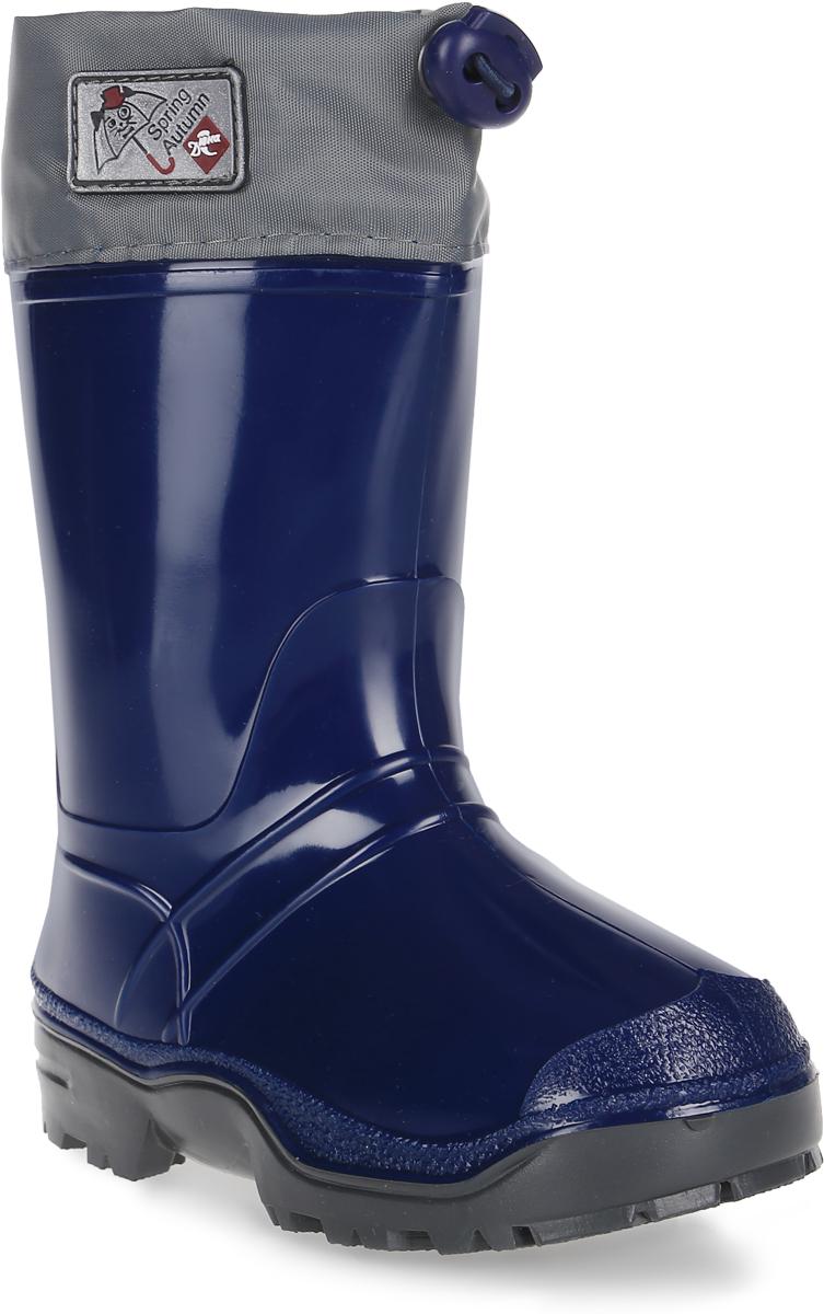 Сапоги резиновые для мальчика Дюна, цвет: темно-синий, серый. 270/02 У. Размер 33270/02 УРезиновые сапоги Дюна - идеальная обувь в холодную и дождливую погоду для вашего мальчика. Сапоги выполнены из качественной резины. Голенище дополнено фирменной нашивкой. Подкладка и стелька из текстиля обеспечат комфорт. Текстильный верх голенища регулируется в объеме за счет шнурка со стоппером. Подошва дополнена рифлением.