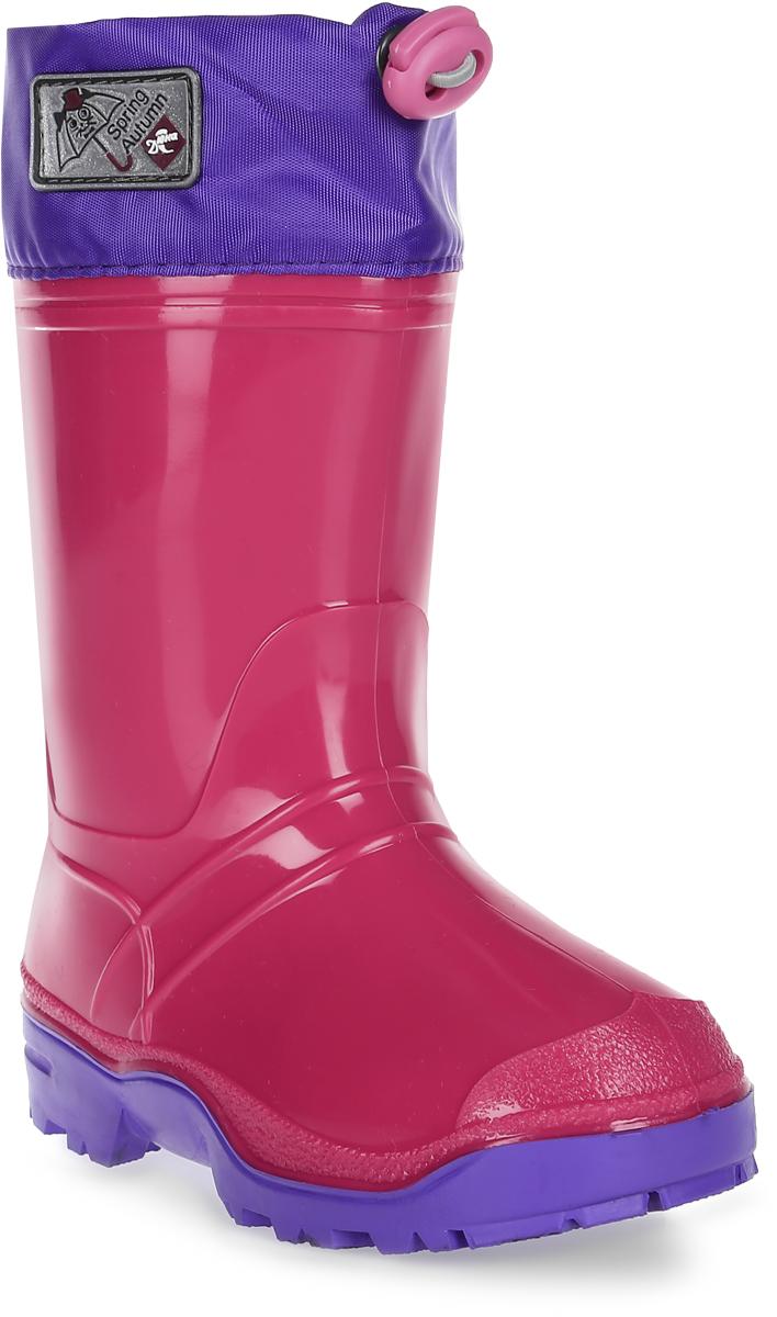 Сапоги резиновые для девочки Дюна, цвет: фуксия, сиреневый. 270/02 У. Размер 32270/02 УРезиновые сапоги Дюна - идеальная обувь в холодную и дождливую погоду для вашей девочки. Сапоги выполнены из качественной резины. Голенище дополнено фирменной нашивкой. Подкладка и стелька из текстиля обеспечат комфорт. Текстильный верх голенища регулируется в объеме за счет шнурка со стоппером. Подошва дополнена рифлением.