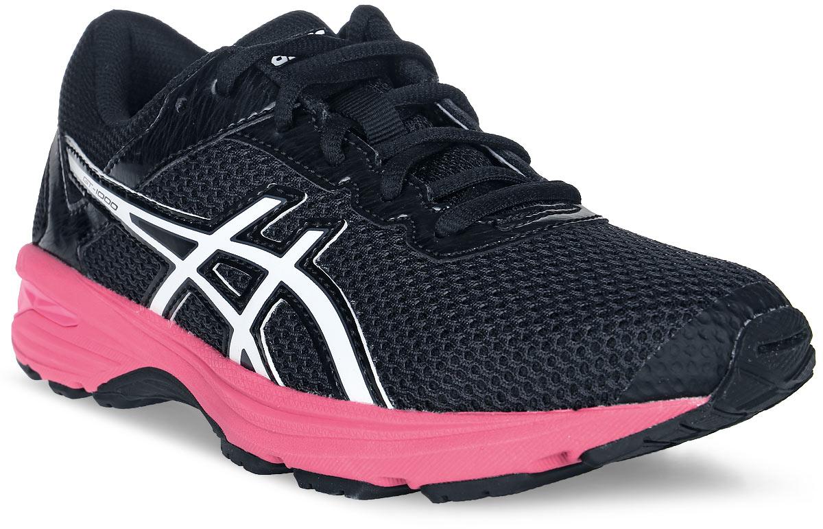 Кроссовки для девочки Asics Gt-1000 6 Gs, цвет: черный, розовый. C740N-9501. Размер 2 (32)C740N-9501Легкие кроссовки для девочки Asics Gt-1000 6 Gs покорят вашего ребенка своим дизайном и функциональностью! Верх кроссовок выполнен из специальной дышащей сетки, которая обеспечивает оптимальный микроклимат внутри обуви. Промежуточная подошва из EVA и вставки Asics Gel в пяточной области обеспечивают превосходную поддержку и предохраняют ноги ребенка от усталости. В модели предусмотрена съемная стелька для простоты ухода и дополнительной амортизации. Светоотражающие элементы обеспечат безопасность в темное время суток.