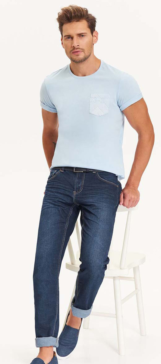 Футболка мужская Top Secret, цвет: голубой. SPO3230BL. Размер XL (50)SPO3230BLСтильная мужская футболка Top Secret, выполненная из высококачественного хлопка, обладает высокой теплопроводностью, воздухопроницаемостью и гигроскопичностью, позволяет коже дышать.Модель с короткими рукавами и круглым вырезом горловины - идеальный вариант для создания образа в стиле Casual.Такая модель подарит вам комфорт в течение всего дня и послужит замечательным дополнением к вашему гардеробу.