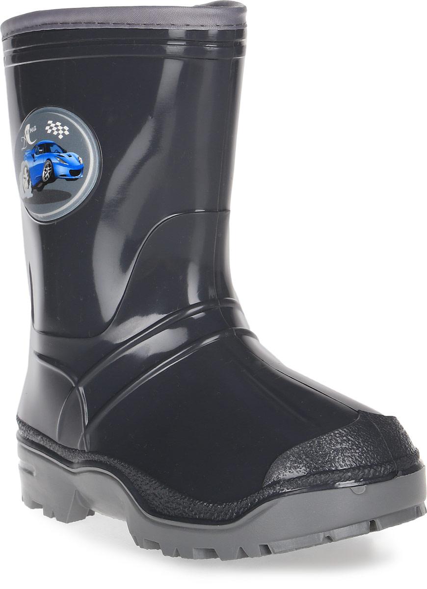 Сапоги резиновые для мальчика Дюна, цвет: темно-серый. 269/01 У (НТП). Размер 30269/01 У (НТП)Прелестные резиновые сапоги Дюна - идеальная обувь в дождливую погоду для вашего ребенка. Сапоги, выполненные из резины, на голенище дополнены - накладкой с изображением автомобиля. Подкладка и стелька из текстиля обеспечат комфорт. Подошва с рифлением гарантируют отличное сцепление с любой поверхностью. Резиновые сапоги - необходимая вещь в гардеробе каждого ребенка.