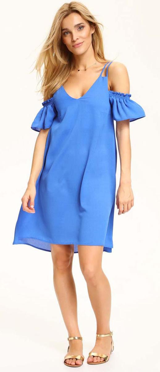 Платье Top Secret, цвет: синий. SSU1941NI. Размер 42 (50)SSU1941NIИзящное платье Top Secret, изготовленное из полиэстера, станет отличным дополнением к вашему гардеробу. Модель на тонких бретелях имеет V-образный вырез горловины и трапециевидный крой.