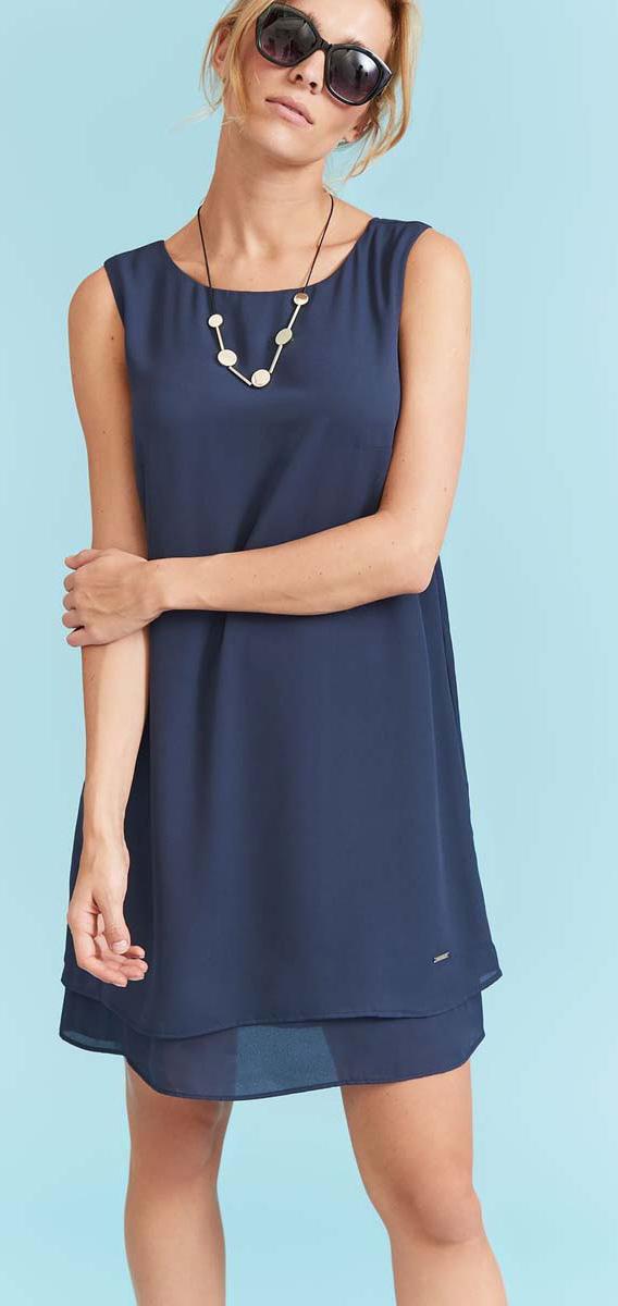 Платье Top Secret, цвет: темно-синий. SSU1925GR. Размер 42 (50)SSU1925GRЭффектное платье Top Secret, изготовленное из качественного полиэстера, станет отличным дополнением к вашему гардеробу. Модель имеет трапециевидный крой. Изюминка платья - перекрестные лямки на спине.