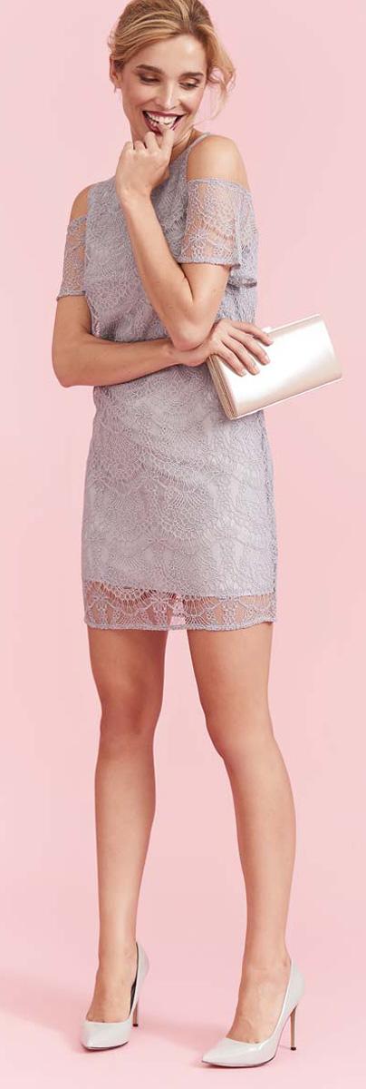 Платье Top Secret, цвет: светло-серый. SSU1943GB. Размер 40 (48)SSU1943GBНевероятно изящное платье Top Secret выполнено из полиамида с добавлением вискозы. Застегивается на молнию. Ажурное платье создаст обворожительный и неповторимый образ. Это платье станет превосходным дополнением к вашему гардеробу.