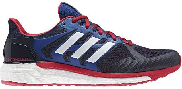Кроссовки для бега мужские Adidas Supernova St, цвет: синий, красный. CG2702. Размер 11,5 (45)CG2702Мужские кроссовки Supernova St от Adidas для эффективных и приятных пробежек по улицам города. Ультрамягкая промежуточная подошва boost возвращает энергию, придавая дополнительный импульс каждому шагу. Облегающий сетчатый верх с поддерживающим каркасом обеспечивает надежную посадку.Тип поддержки стопы: стабильный.Двойная амортизирующая подошва boost для повышенной устойчивости и плавного бега.Легкий, дышащий верх из текстурной сетки плотно облегает стопу, обеспечивая поддержку и удобную посадку.TORSION SYSTEM соединяет носок и пятку, обеспечивая стабильность каждого шага.Литой задник FITCOUNTER обеспечивает естественную посадку и оптимальную плавность движения в области ахиллова сухожилия.Гибкая подошва STRETCHWEB повторяет естественные движения стопы; подметка из резины Continental для максимального сцепления даже с влажной поверхностью.Перепад высоты на промежуточной подошве: 8 мм (пятка: 29,9 мм / носок: 21,9 мм).