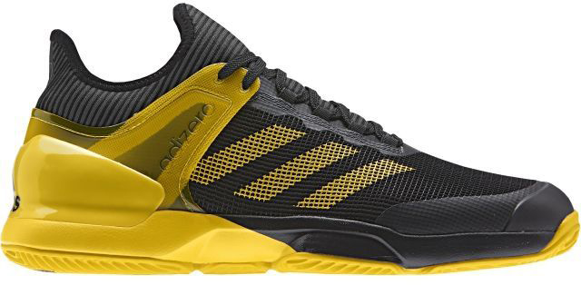 Кроссовки для тенниса мужские Adidas Adizero Ubersonic 2, цвет: черный, желтый. CG3085. Размер 10,5 (44) - Теннис