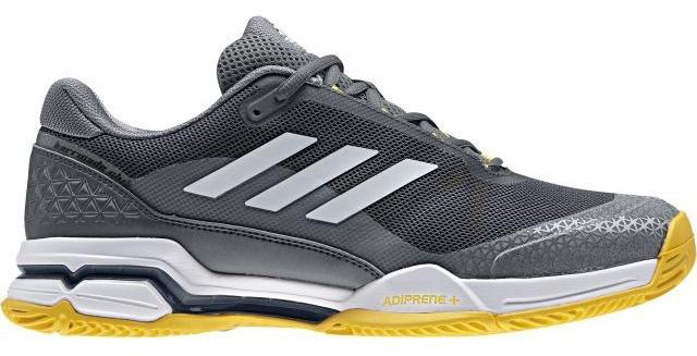 Кроссовки для тенниса мужские Adidas Barricade Club, цвет: серый, белый. BY1638. Размер 12 (46)BY1638Контролируй ход игры и побеждай в каждом сете. Эти мужские теннисные кроссовки Adidas Barricade Club с амортизацией boost возвращают энергию каждого шага и обеспечивают устойчивость на любой поверхности даже на высоких скоростях. Бесшовный вязаный верх плотно обхватывает ногу, обеспечивая надежную посадку. Вязаный верх естественным образом растягивается, адаптируясь под форму стопы, и таким образом снижает риск раздражения кожи и обеспечивает комфортную посадку; бесшовная конструкция подкладки плотно облегает стопу для комфортной посадки. Износостойкая вставка ADITUFF в передней и средней части кроссовка защищает стопу от пробуксовки и подворачивания во время подач, ударов с лета и резких боковых движений. Гибкий мысок позволяет пальцам двигаться естественно. Каркас BARRICADE поддерживает и стабилизирует среднюю часть стопы во время динамичных маневров на корте. Анатомическая конструкция GEOFIT для комфорта; слегка расширенная передняя часть. Исключительно износостойкая подошва ADIWEAR.