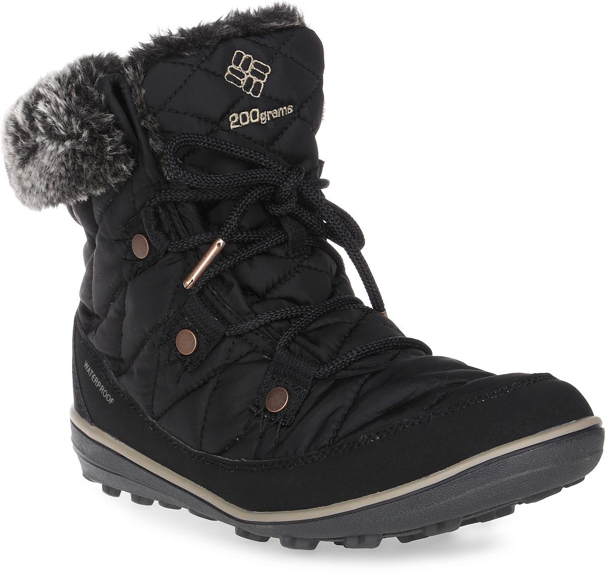Ботинки женские Columbia Heavenly Shorty Omni-Heat, цвет: темно-серый. 1691541-010. Размер 7 (37,5)1691541-010Женские ботинки Heavenly Shorty Omni-Heat от Columbia выполнены из высококачественного комбинированного материала с технологией Omni-Tech, которая защищает обувь от осадков. Подкладка с технологией Omni-Heat сохранит ваши ноги в тепле. Утеплитель Insulated плотностью 200 гр. не позволит ногам замерзнуть. Подкладка в верхней части голенища выполнена из искусственного меха. Шнуровка надежно фиксирует модель на ноге. Подошва выполнена из гибкого, легкого материала обладающего отличной амортизацией. Подметка с технологией Omni-Grip со специальным рисунком протектора обеспечит надежное сцепление на любых зимних поверхностях. Верх ботинок декорирован вышитым логотипом бренда и отделкой из искусственного меха.