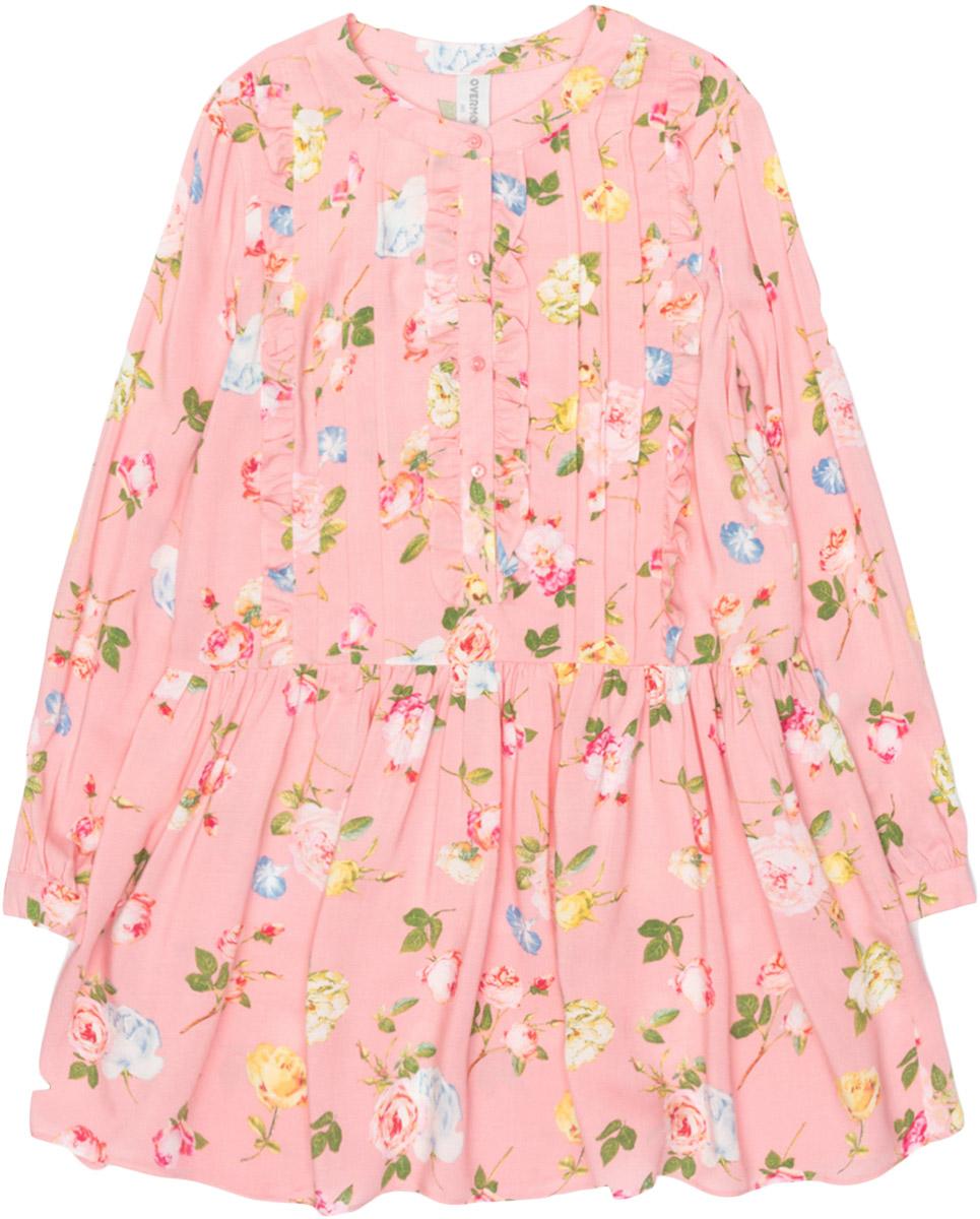 Платье для девочки Overmoon Medenija, цвет: розовый. 21210200019_1400. Размер 15821210200019_1400Стильное платье для девочки Overmoon Medenija выполнено из 100% вискозы. Модель имеет длинные рукава, круглый вырез горловины с застежкой на пуговицу и пышную юбочку. Платье дополнено декоративной планкой с пуговицами, украшено цветочными принтом и оборками.