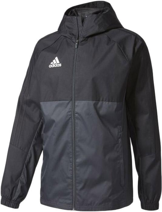 Ветровка мужская Adidas Tiro17 Rain Jkt, цвет: черный, серый. AY2889. Размер S (44/46)AY2889Ветровка мужская на Adidas выполнена из полиэстера. Модель с длинными рукавами и капюшоном застегивается на молнию, имеются два боковых кармана на молнии и эластичные манжеты на рукавах. Модель оформлена логотипом бренда.