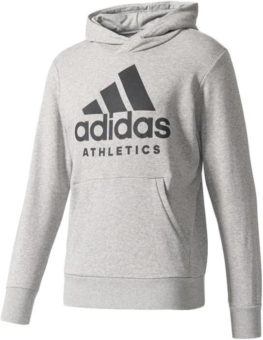 Худи мужское Adidas Sid Branded P/O, цвет: серый. B47375. Размер L (52/54)B47375Мужское худи Adidas с длинными рукавами и капюшоном изготовлено из хлопка с добавлением эластана. Спереди расположен карман-кенгуру. Модель дополнена спереди логотипом бренда.