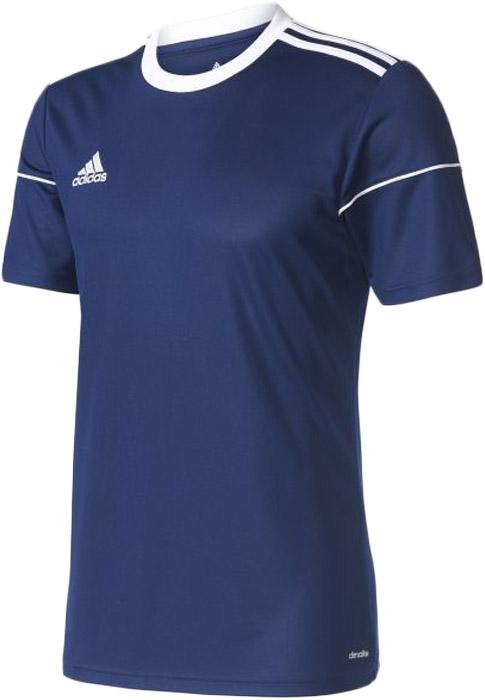 Футболка мужская Adidas Squad 17 Jsy Ss, цвет: синий. BJ9171. Размер M (48/50)BJ9171Комфортная мужская футболка от Adidas с короткими рукавами и круглым вырезом горловины выполнена из полиэстера. Отводящая влагу ткань быстро сохнет и сохраняет ощущение свежести. Модель оформлена - на правой груди логотипом бренда,тремя полосками на плечах и окантовкой на рукавах.