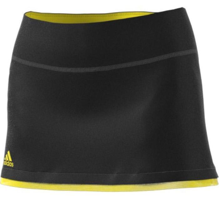 Юбка для тенниса Adidas Us Series Skirt, цвет: черный, желтый. BP5230. Размер S (42/44)BP5230Юбка облегающего кроя Adidas выполнена из плотного эластичного трикотажа, который эффективно отводит излишки влаги и повторяет каждое твое движение. Контрастные сетчатые вставки у нижнего края создают цветовой акцент, а вшитые шорты обеспечивают дополнительный комфорт. Широкий эластичный пояс для идеальной посадки.