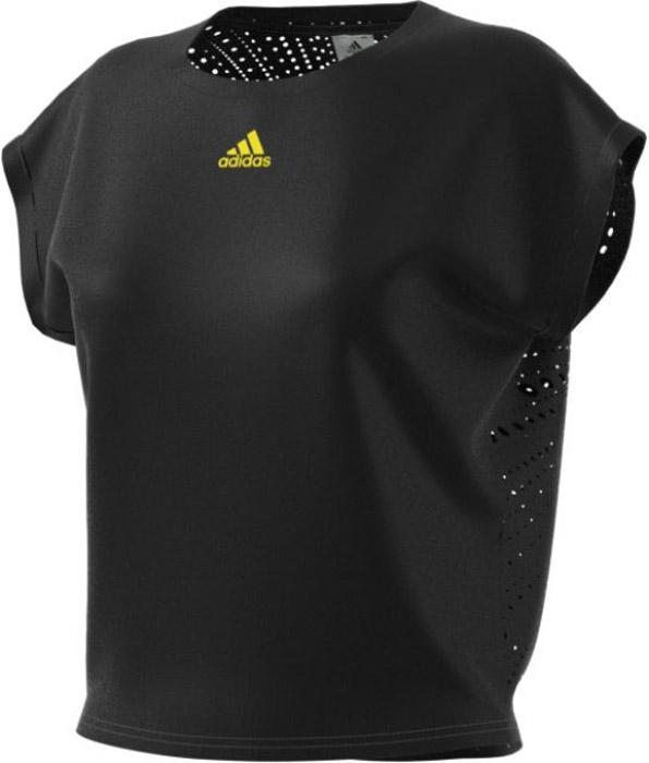 Футболка для тенниса женская Adidas Us Series Tee, цвет: черный. BP5235. Размер L (48/50)BP5235Женская футболка для тенниса Adidas изготовлена из полиэстера. Модель с круглым вырезом горловины и короткими рукавами, дополнена сетчатыми вставками на спине,для улучшенной вентиляции. Футболка оформлена термологотипом бренда.