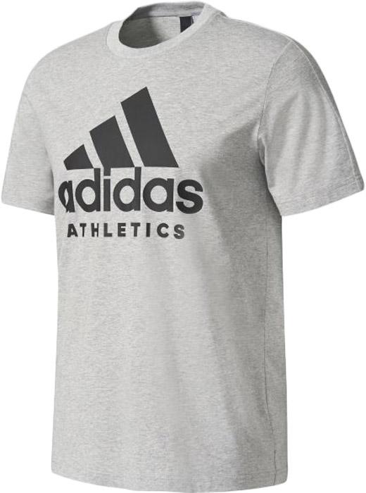 Футболка мужская Adidas Sid Branded Tee, цвет: серый. BK3711. Размер M (48/50)BK3711Комфортная мужская футболка от Adidas с короткими рукавами и круглым вырезом горловины выполнена из натурального хлопка. Модель оформлена спереди логотипом бренда.