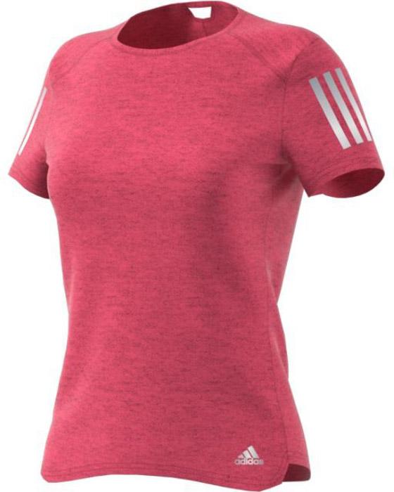 Футболка для бега женская Adidas Rs Soft Tee W, цвет: розовый. BQ3576. Размер XL (52/54)BQ3576Женская футболка для бега Adidas изготовлена из полиэстера. Модель с круглым вырезом горловины и короткими рукавами, дополненасветоотражающими полосками. Легкая ткань climalite® отводит излишки влаги от кожи, сохраняя ощущение сухости и свежести. Модель полностью повторяет все твои движения.