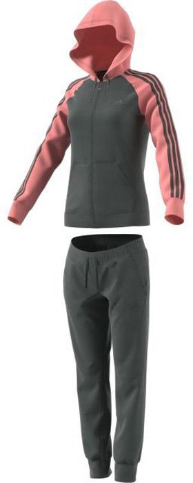 Костюм спортивный женский Adidas Re-Focus Ts, цвет: серый, розовый. BQ8395. Размер M (46/48)BQ8395Женский спортивный костюм adidasвключает в себя ветровку и спортивные брюки. Ветровка с длинными рукавами застегивается спереди на молнию. Модель изготовлена из высококачественного полиэстера. Ветровка с капюшоном дополнена двумя прорезными карманами спереди и шнурок-утяжку. Манжеты оформлены широкой эластичной резинкой. Спортивные брюки выполнены из полиэстера. Модель имеет широкую эластичную резинку на поясе. По бокам - врезные карманы. Низ штанин дополнен мягкими манжетами.