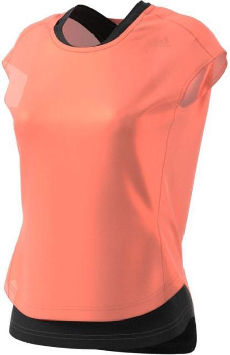 Футболка 2 в 1 для бега женская Adidas Tko 2 Layer W, цвет: розовый, черный. CF0935. Размер M (46/48)CF0935Удобная женская футболка Adidas, выполненная из полиэстера, состоит из майки - борцовки, футболки с короткими рукавами и круглым вырезом горловины. Ткань с технологией climalite® отводит излишки влаги от тела, сохраняя комфортное ощущение сухости. Модель дополнена светоотражающими элементами.