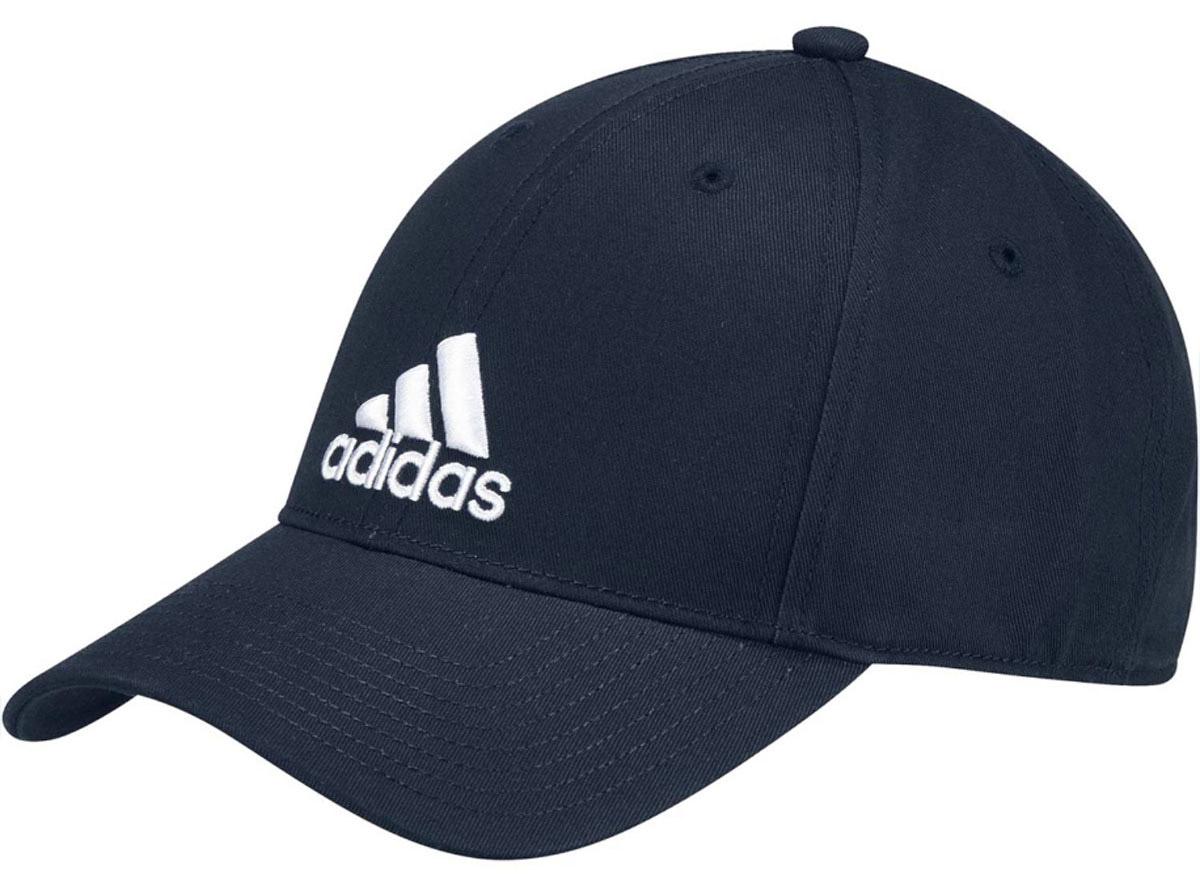 Бейсболка Adidas 6P Cap Cotton, цвет: синий. S98152. Размер 54/55S98152Стильная бейсболка Adidas выполнена из хлопка и дополнена широким изогнутым козырьком.Изделие оформлено спереди логотипом бренда. Объем бейсболки регулируется с помощью эластичного ремешка.