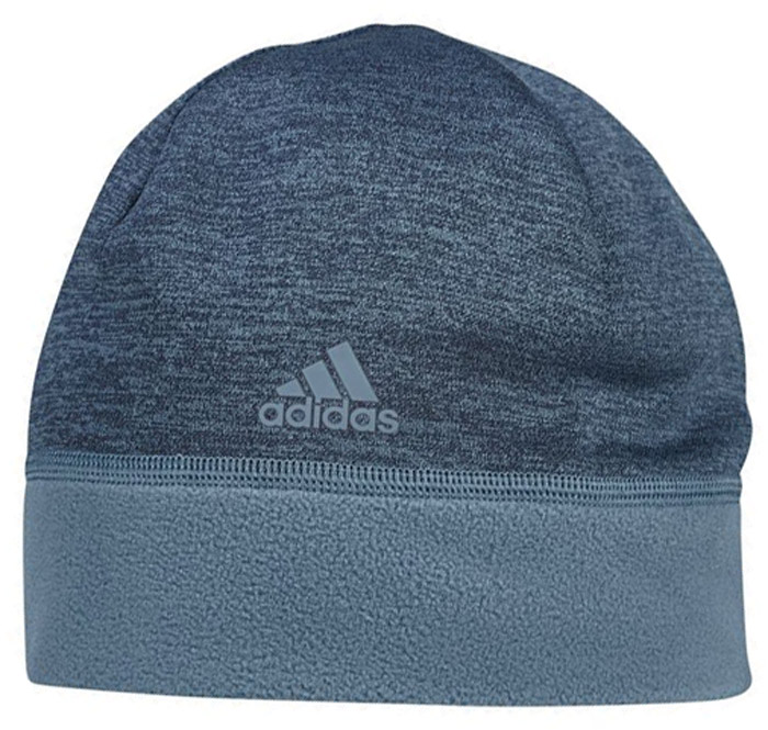 Шапка Adidas Clmwm Flc Beani, цвет: темно-синий. BS1689. Размер 56/57BS1689Шапка Adidas выполнена из полиэстера. Шапка выполнена вязкой мелкими петлями. Модель дополнена эластичным нижним краемдля комфортной посадки.