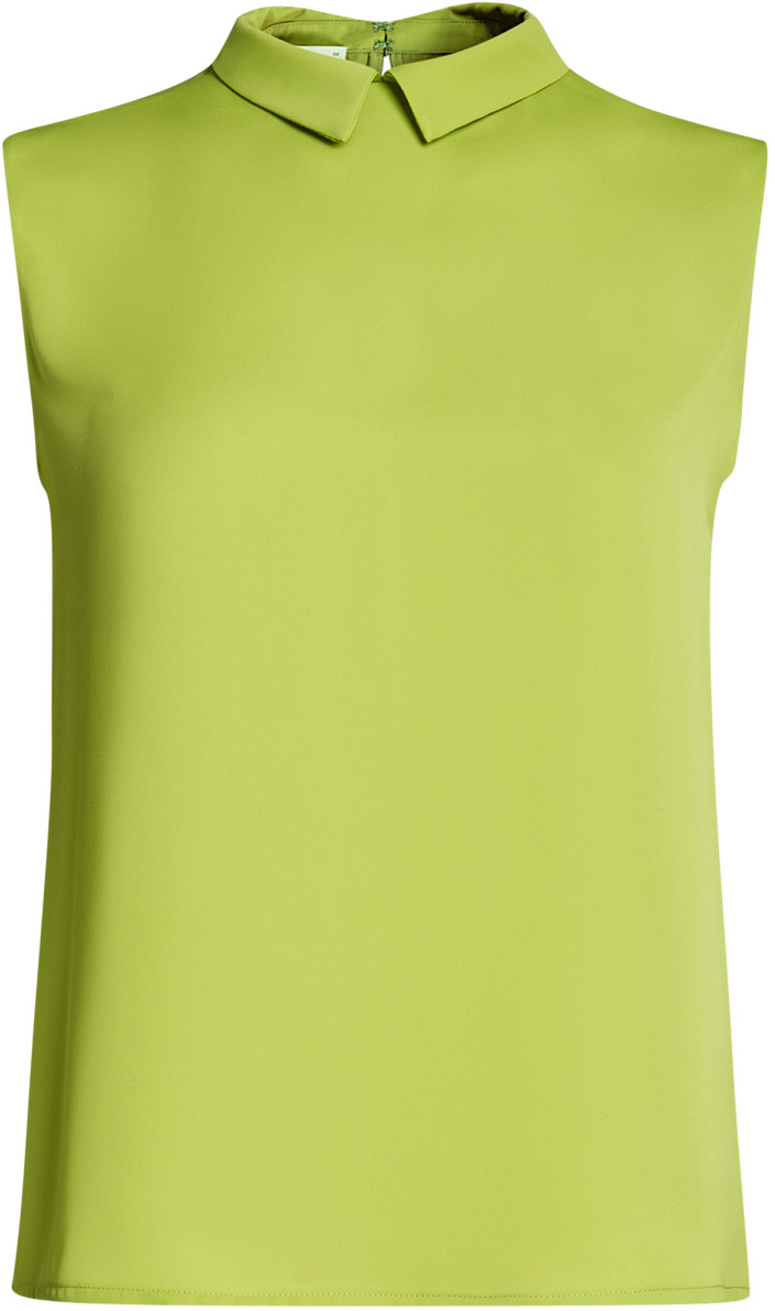 Блузка женская oodji Ultra, цвет: зеленое яблоко. 11411084B/43414/6A00N. Размер 36-170 (42-170)11411084B/43414/6A00NМодная женская блузка oodji Ultra изготовлена из высококачественного полиэстера.Модель с отложным воротником и без рукавов застегивается на два металлических крючка, расположенных на спинке. Спинка оформлена декоративным вырезом.