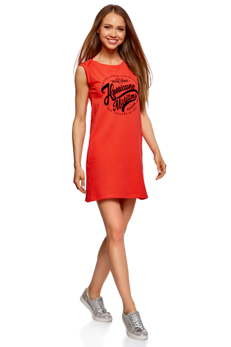 Платье oodji Ultra, цвет: красный, темно-синий. 14005074-5/46149/4579P. Размер L (48)14005074-5/46149/4579PПлатье прямого силуэта из эластичного хлопка оформлено надписью спереди. Модель без рукавов и с круглым вырезом горловины.