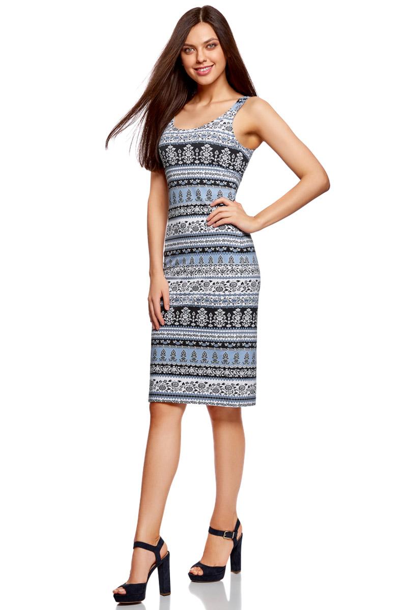 Платье oodji Ultra, цвет: голубой, белый. 14015007-2/47420/7010E. Размер S (44)14015007-2/47420/7010EЛегкое обтягивающее платье oodji Ultra, выгодно подчеркивающее достоинства фигуры, выполнено из качественного эластичного хлопка. Модель миди-длины с круглым вырезом горловины и узкими бретелями дополнена разрезом на юбке с задней стороны.
