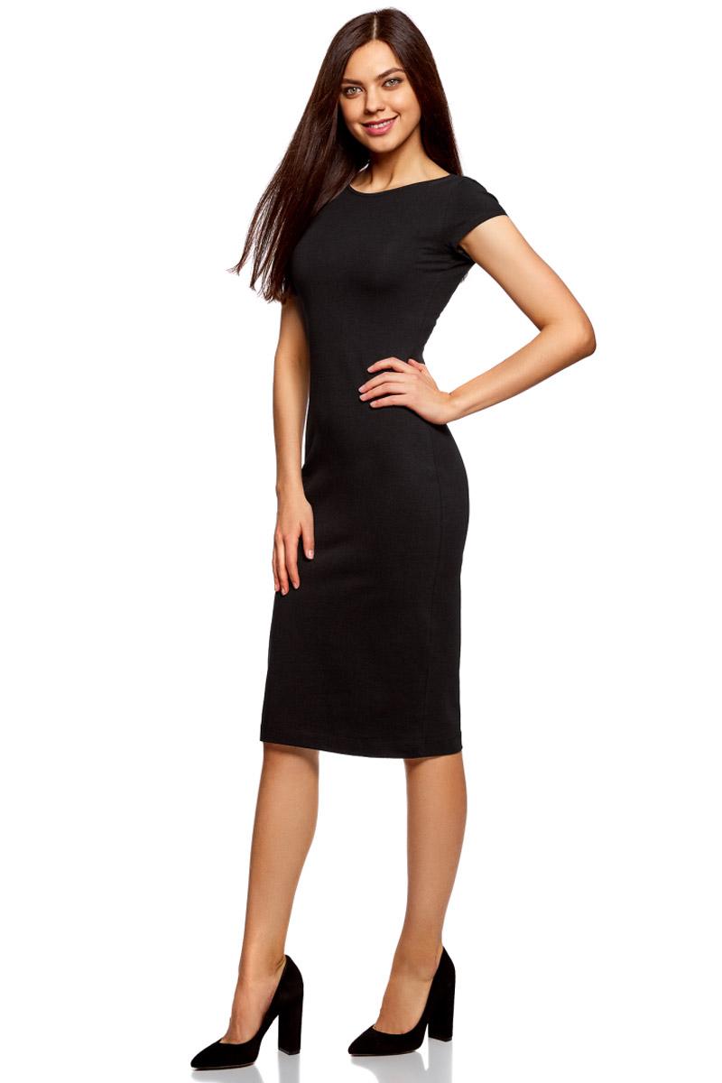 Платье oodji Collection, цвет: черный. 24001104-5B/47420/2900N. Размер XS (42)24001104-5B/47420/2900NСтильное платье oodji изготовлено из качественного материала на основе хлопка. Облегающая модель с круглой горловиной и короткими рукавами. Спинка выполнена с глубоким круглым вырезом.