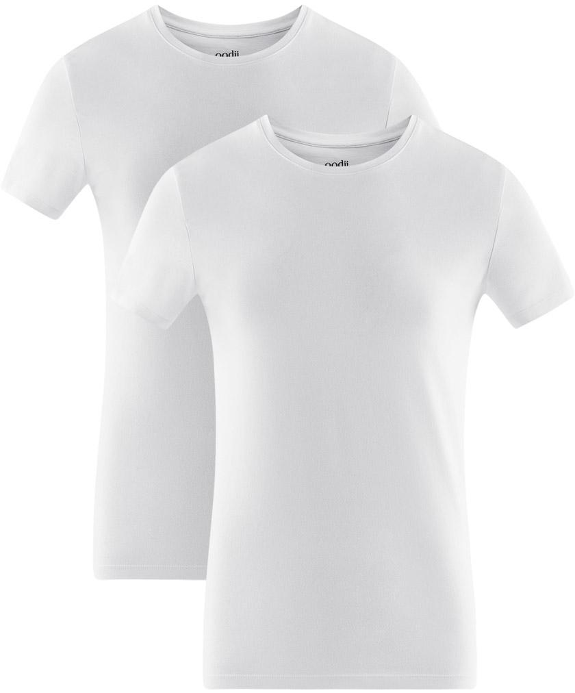 Футболка мужская oodji Basic, цвет: белый, 2 шт. 5B611004T2/46737N/1000N. Размер XXL (58/60)5B611004T2/46737N/1000NМужская базовая футболка от oodji выполнена из эластичного хлопкового трикотажа. Модель с короткими рукавами и круглым вырезом горловины. В комплекте 2 футболки.