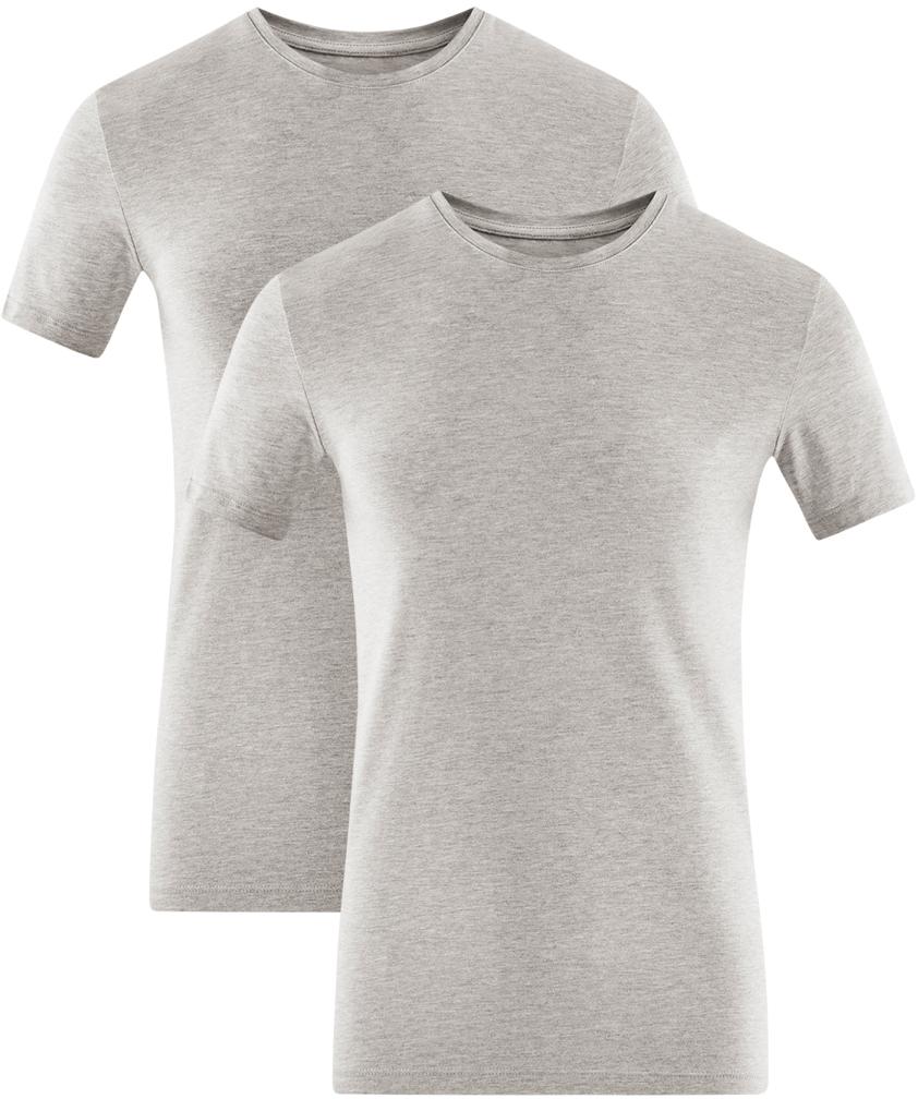 Футболка мужская oodji Basic, цвет: серый меланж, 2 шт. 5B611004T2/46737N/2300M. Размер XS (44)5B611004T2/46737N/2300MМужская базовая футболка от oodji выполнена из эластичного хлопкового трикотажа. Модель с короткими рукавами и круглым вырезом горловины. В комплекте 2 футболки.
