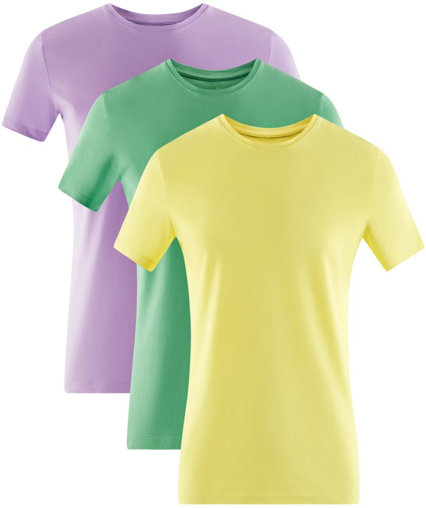 Футболка мужская oodji Basic, цвет: сиреневый, зеленый, желтый, 3 шт. 5B611004T3/46737N/1900N. Размер XS (44)5B611004T3/46737N/1900NМужская базовая футболка от oodji выполнена из эластичного хлопкового трикотажа. Модель с короткими рукавами и круглым вырезом горловины. В комплекте 3 футболки.