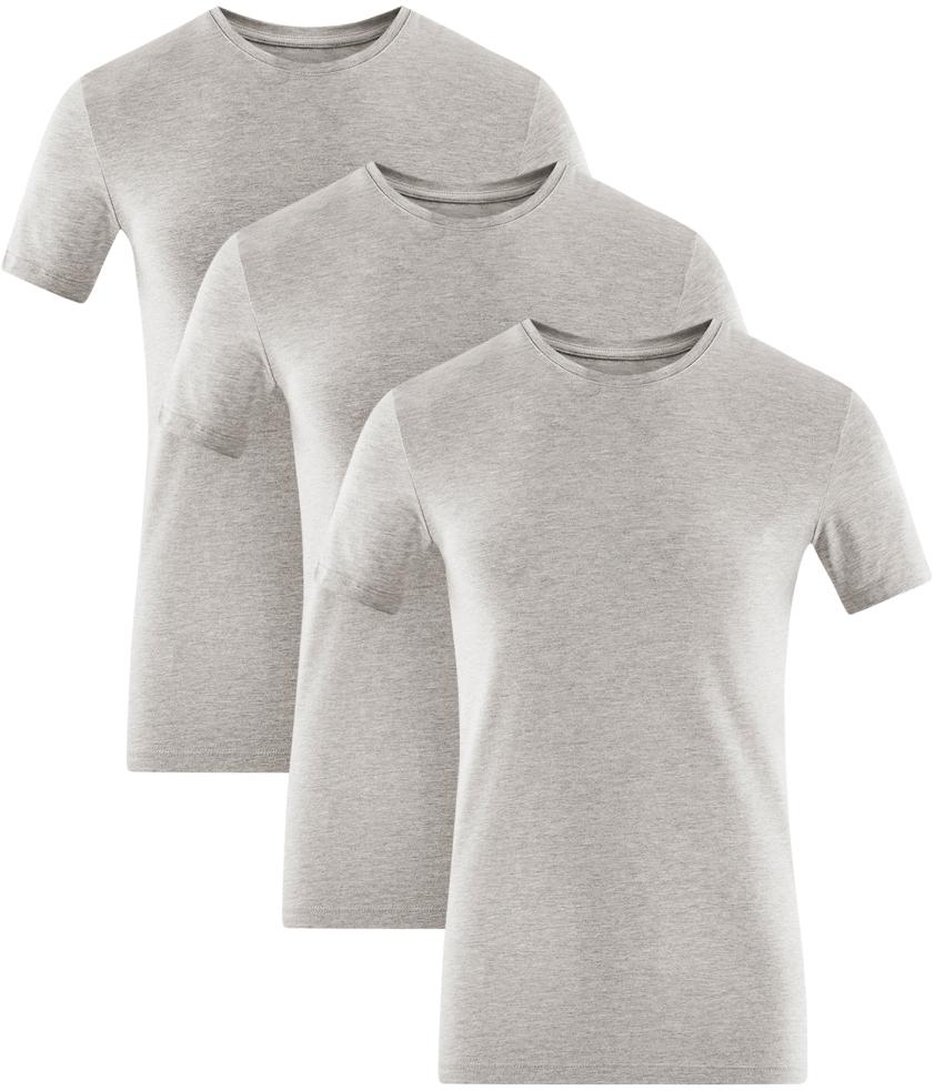 Футболка мужская oodji Basic, цвет: серый меланж, 3 шт. 5B611004T3/46737N/2300M. Размер S (46/48)5B611004T3/46737N/2300MМужская базовая футболка от oodji выполнена из эластичного хлопкового трикотажа. Модель с короткими рукавами и круглым вырезом горловины. В комплекте 3 футболки.