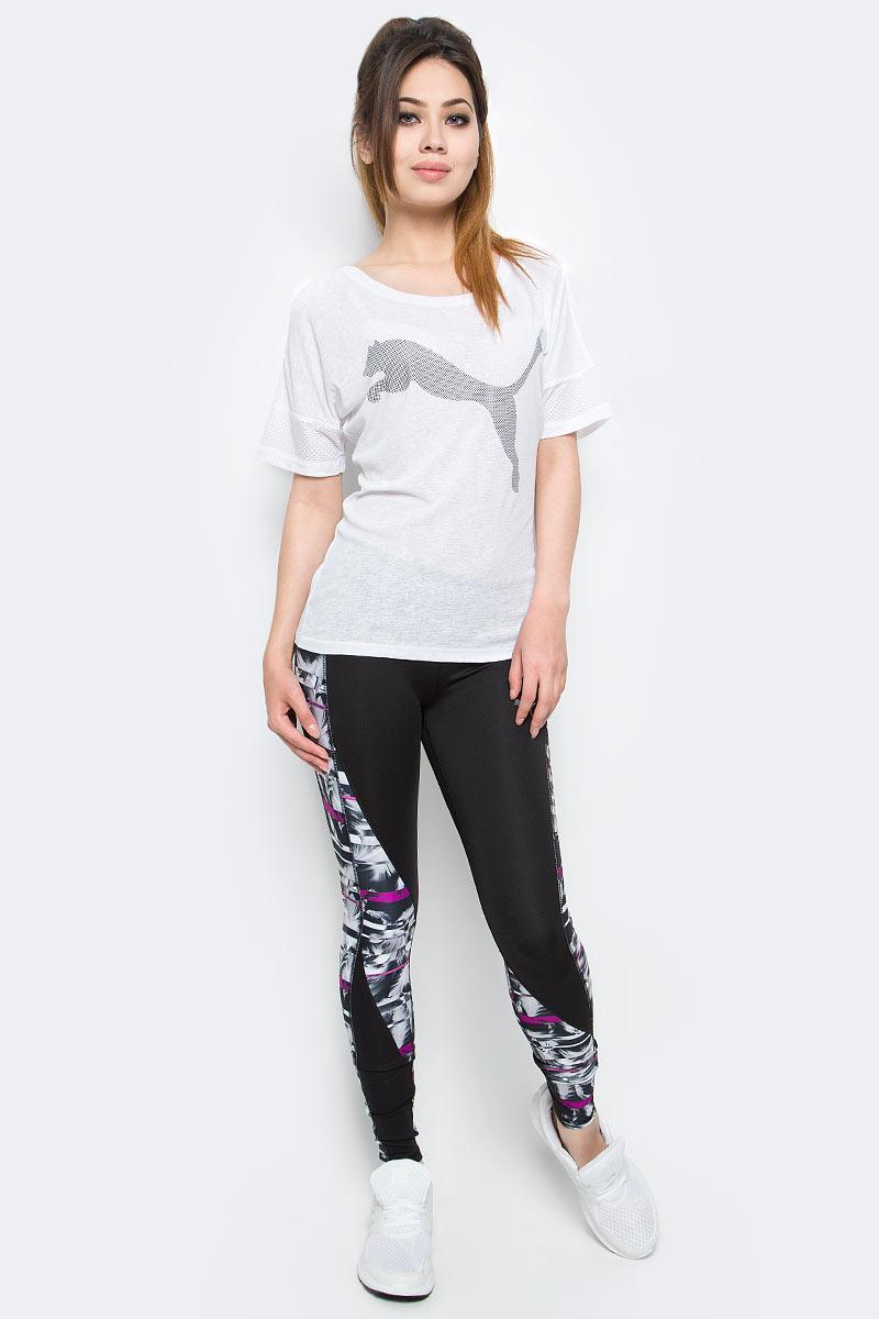 Тайтсы для бега женские Puma CLASH Tight, цвет: черный, белый, розовый. 515124_01. Размер S (42/44)515124_01Женские тайтсы для бега CLASH Tight оригинального фасона и расцветки станут вашей любимой моделью, потому что они не только отлично подходят для занятий спортом и активного отдыха, но и привлекают внимание своим неповторимым стилем. Дополнительные удобства создает использование высокофункциональной технологии dryCELL, которая отводит влагу, поддерживает тело сухим и гарантирует комфорт во время активных тренировок и занятий спортом. Широкий пояс мягко поддерживает живот и охватывает талию, он также снабжен карманами из плотного материала для смартфона и других ценностей. Смелая контрастная расцветка, характерная для всей линейки CLASH, дополняется интересным рисунком на всей поверхности изделия.