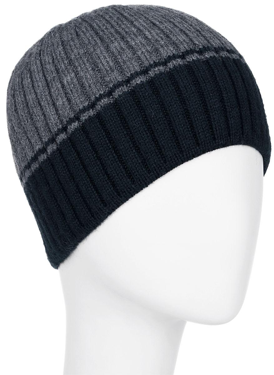 Шапка мужская Leighton, цвет: серый, темно-синий. 5-024. Размер 59/605-024Мужская шапка Leighton изготовлена из шерсти и акрила. Уважаемые клиенты!Размер, доступный для заказа, является обхватом головы.