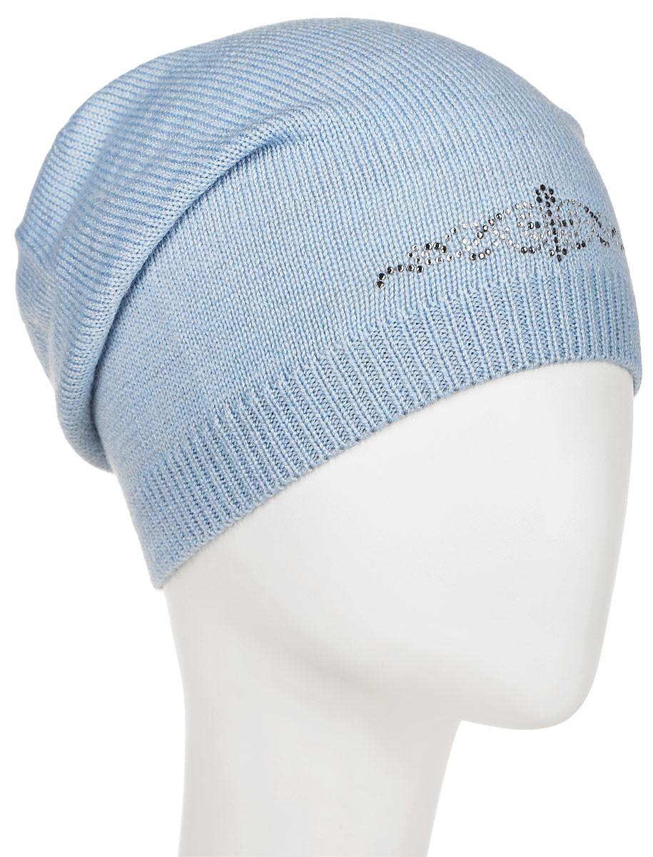 Шапка женская Flioraj, цвет: голубой. 7301PI-53. Размер 56/587301PI-53Удлиненная женская шапка Flioraj отлично дополнит ваш образ в холодную погоду. Сочетание шерсти и акрила максимально сохраняет тепло и обеспечивает удобную посадку, невероятную легкость и мягкость. Шапка декорирована ненавязчивым узором из страз. Привлекательная стильная шапка Flioraj подчеркнет ваш неповторимый стиль и индивидуальность.