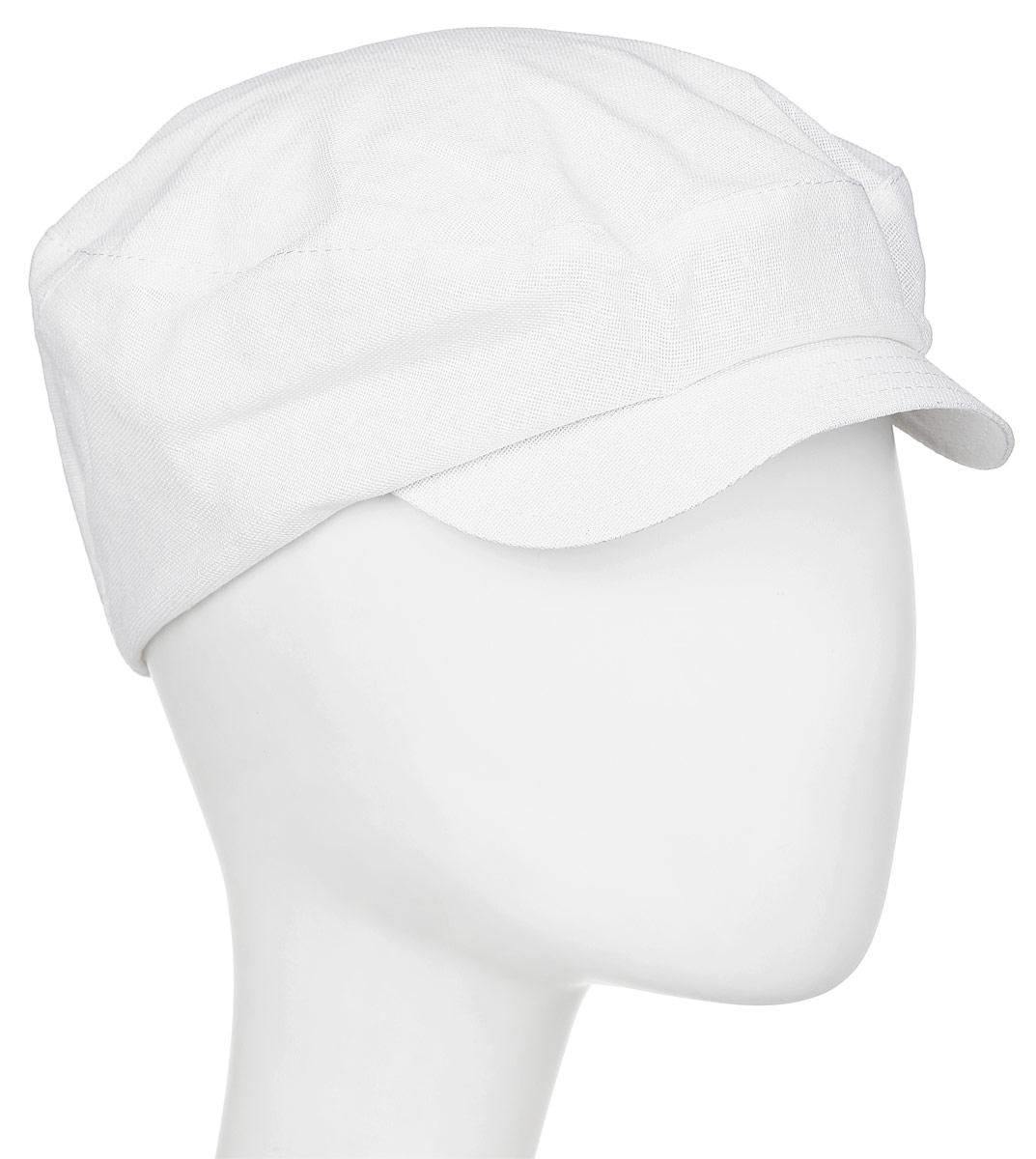 Кепка женская Level Pro, цвет: белый. 392675. Размер 56/58392675Кепка женская Level Pro изготовлена из качественного натурального льна. Ткань сзади собрана на внутреннюю резинку. У модели имеется небольшой мягкий козырек. С одного края кепка декорирована металлическими стразами. Размер, доступный для заказа, является обхватом головы.
