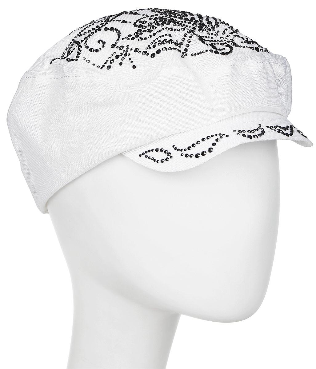 Кепка женская Level Pro, цвет: белый. 392584. Размер 56/58392584Кепка женская Level Pro изготовлена из качественного натурального льна. Ткань сзади собрана на внутреннюю резинку. У модели имеется небольшой козырек. Верхняя часть и козырек кепки декорированы стразами.