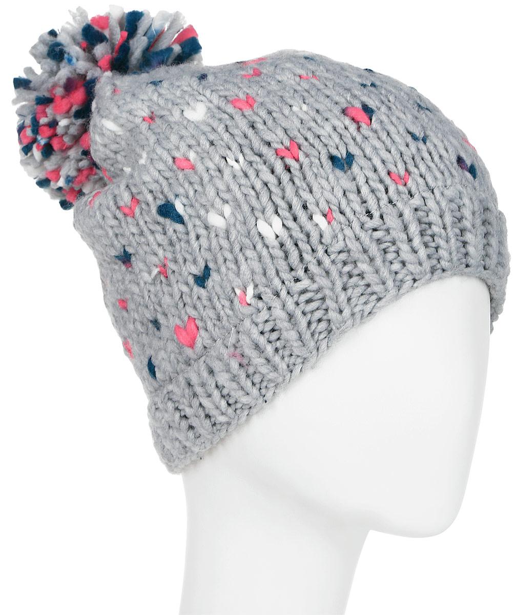 Шапка женская Roxy Dena, цвет: серый. ERJHA03093-SLA0. Размер универсальныйERJHA03093-SLA0Женская шапка выполнена из высококачественного материала. Подкладка из флиса Polar по краю.