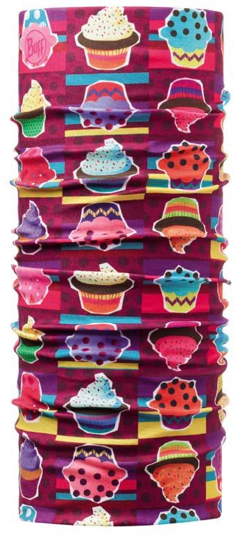 Бандана Buff Original Child Cupcake, цвет: фиолетовый. 108147.00. Размер универсальный108147.00Buff - это оригинальные, мультифункциональные, бесшовные головные уборы - удобные и комфортные для любого вида активного отдыха и спорта. Оригинальные, потому что Buff был и является первым в мире брендом мультифункциональных, бесшовных и универсальных головных уборов. Мультифункциональные, потому что их можно носить самыми разными способами: как шарф, как шапку, как балаклаву, косынку, бандану, маску, напульсник и многими другими - решает Ваша фантазия! Универсальный головной убор, который можно носить более чем двенадцатью способами, который можно использовать при занятии любым видом спорта, езде на велосипеде и мотоцикле, катаясь или бегая на лыжах, и даже как аксессуар в городской одежде. Бесшовные, благодаря эластичности, позволяющей использовать эти головные уборы как угодно и не беспокоиться о том, что кожа может быть натерта или раздражена швами. Размер (обхват головы): 50-55 см.
