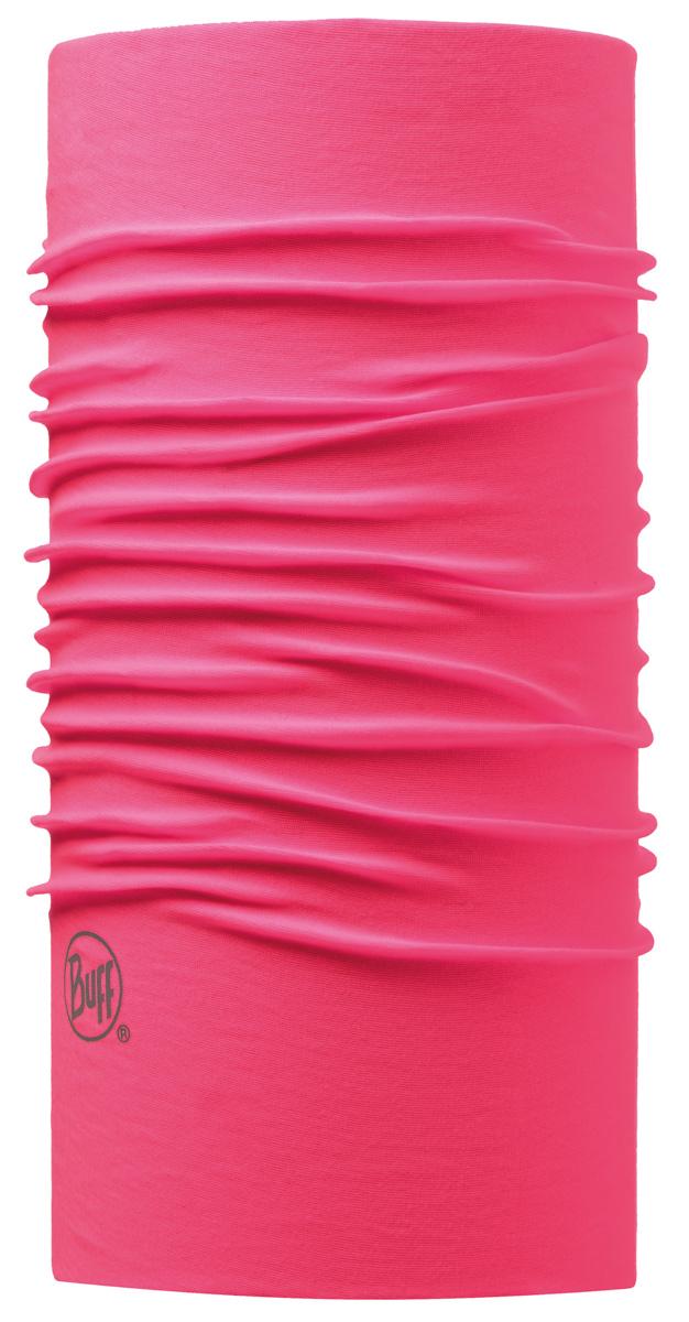 Бандана Buff Original Pink Fluor, цвет: розовый. 108835.00. Размер универсальный108835.00Buff - это оригинальные, мультифункциональные, бесшовные головные уборы - удобные и комфортные для любого вида активного отдыха и спорта. Оригинальные, потому что Buff был и является первым в мире брендом мультифункциональных, бесшовных и универсальных головных уборов. Мультифункциональные, потому что их можно носить самыми разными способами: как шарф, как шапку, как балаклаву, косынку, бандану, маску, напульсник и многими другими - решает Ваша фантазия! Универсальный головной убор, который можно носить более чем двенадцатью способами, который можно использовать при занятии любым видом спорта, езде на велосипеде и мотоцикле, катаясь или бегая на лыжах, и даже как аксессуар в городской одежде. Бесшовные, благодаря эластичности, позволяющей использовать эти головные уборы как угодно и не беспокоиться о том, что кожа может быть натерта или раздражена швами. Размер (обхват головы): 53-62 см.