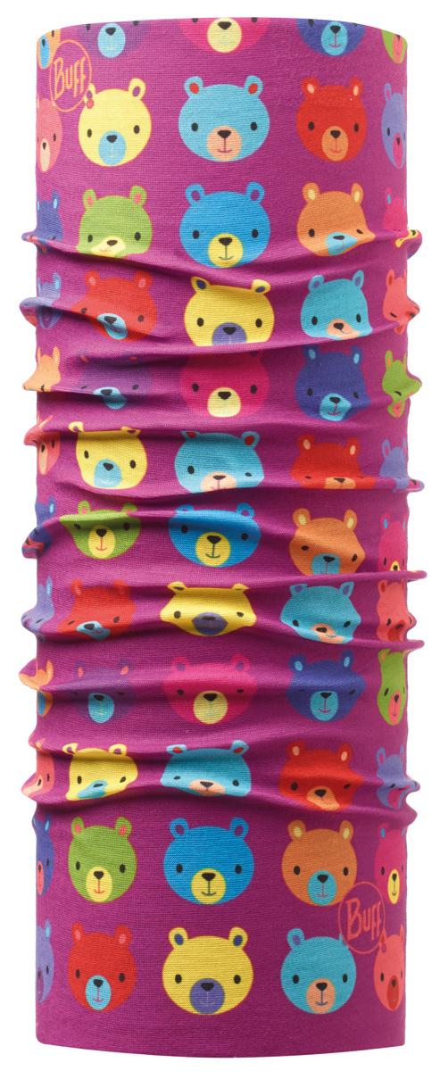 Бандана детская Buff Original Teddy, цвет: фиолетовый. 111271.00. Размер универсальный111271.00Buff - это оригинальные, мультифункциональные, бесшовные головные уборы - удобные и комфортные для любого вида активного отдыха и спорта. Оригинальные, потому что Buff был и является первым в мире брендом мультифункциональных, бесшовных и универсальных головных уборов. Мультифункциональные, потому что их можно носить самыми разными способами: как шарф, как шапку, как балаклаву, косынку, бандану, маску, напульсник и многими другими - решает Ваша фантазия! Универсальный головной убор, который можно носить более чем двенадцатью способами, который можно использовать при занятии любым видом спорта, езде на велосипеде и мотоцикле, катаясь или бегая на лыжах, и даже как аксессуар в городской одежде. Бесшовные, благодаря эластичности, позволяющей использовать эти головные уборы как угодно и не беспокоиться о том, что кожа может быть натерта или раздражена швами. Размер (обхват головы): 45-47 см.
