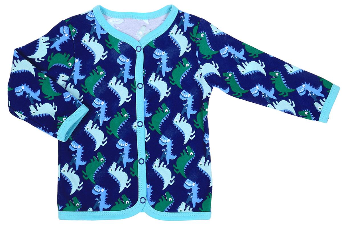 Кофта детская КотМарКот Маленький Динозаврик, цвет: темно-синий. 7235. Размер 807235Удобная детская кофточка КотМарКот Маленький Динозаврик изготовлена из интерлока и оформлена ярким принтом с изображением забавных динозавров. Модель с длинными рукавами и круглым вырезом горловины застегивается на кнопки по всей длине. Края обработаны мягкой эластичной бейкой.Материал кофточки мягкий и тактильно приятный, не раздражает нежную кожу ребенка и хорошо пропускает воздух. Изделие полностью соответствует особенностям жизни ребенка в ранний период, не стесняя и не ограничивая его в движениях.