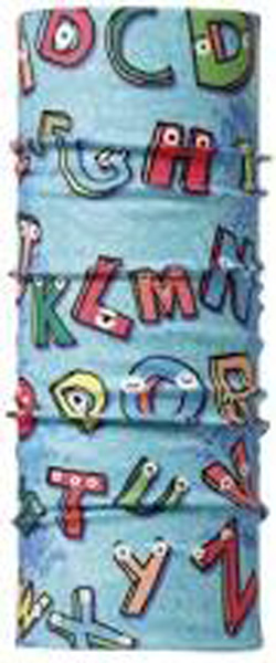 Бандана детская Buff Kids Original Buff Abc, цвет: голубой. 100965/30189. Размер универсальный100965/30189Buff - это оригинальные, мультифункциональные, бесшовные головные уборы - удобные и комфортные для любого вида активного отдыха и спорта. Оригинальные, потому что Buff был и является первым в мире брендом мультифункциональных, бесшовных и универсальных головных уборов. Мультифункциональные, потому что их можно носить самыми разными способами: как шарф, как шапку, как балаклаву, косынку, бандану, маску, напульсник и многими другими - решает Ваша фантазия! Универсальный головной убор, который можно носить более чем двенадцатью способами, который можно использовать при занятии любым видом спорта, езде на велосипеде и мотоцикле, катаясь или бегая на лыжах, и даже как аксессуар в городской одежде. Бесшовные, благодаря эластичности, позволяющей использовать эти головные уборы как угодно и не беспокоиться о том, что кожа может быть натерта или раздражена швами. Размер (обхват головы): 45-51 см.