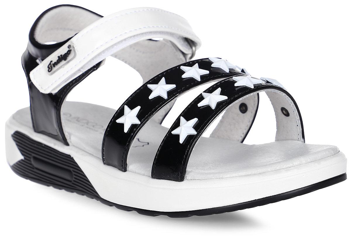 Сандалии для девочки Indigo Kids, цвет: черный. 21-320A/12. Размер 3521-320A/12Модные сандалии от Indigo Kids на небольшом каблуке очень удобны и невероятно легки, они придутся по душе вашей девочке и идеально подойдут для повседневной носки в летнюю погоду! Модель выполнена из натуральной и искусственной кожи, оформлена ремешком с застежкой на липучке, позволяющей регулировать обхват по размеру.Каждое движение в этой обуви приносит радость и удовольствие.