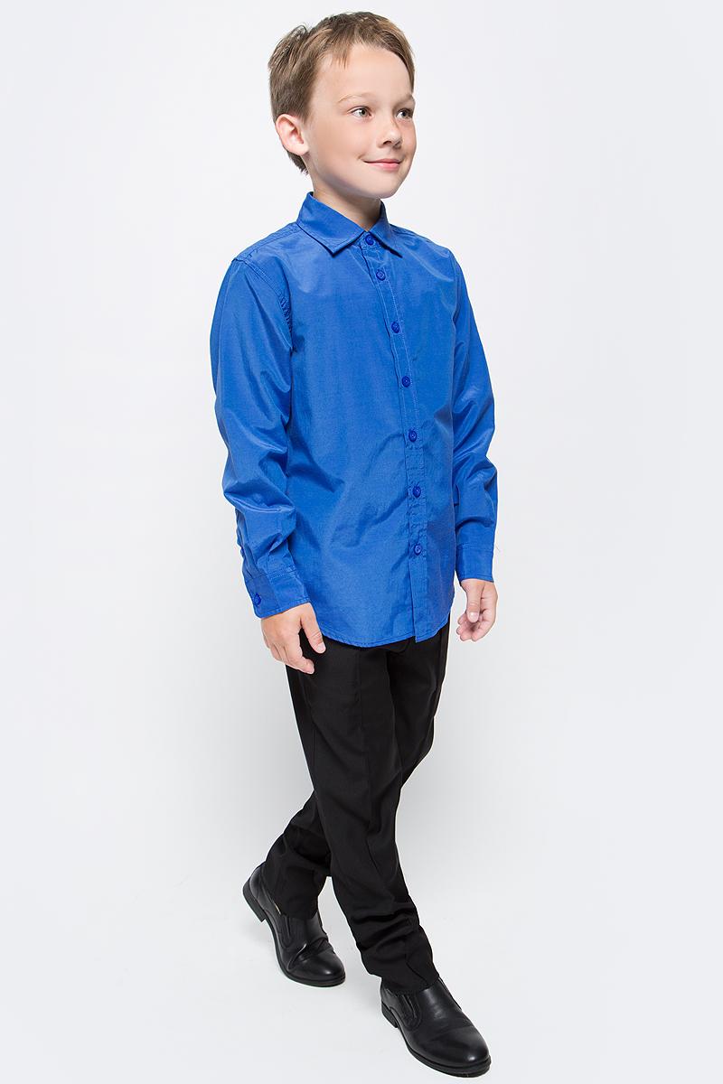 Рубашка для мальчика Sela, цвет: синий. H-812/211-7310. Размер 140, 10 летH-812/211-7310Рубашка для мальчика Sela выполнена из высококачественного материала. Модель с отложным воротником и длинными рукавами застегивается на пуговицы. Манжеты застегиваются на пуговицы.