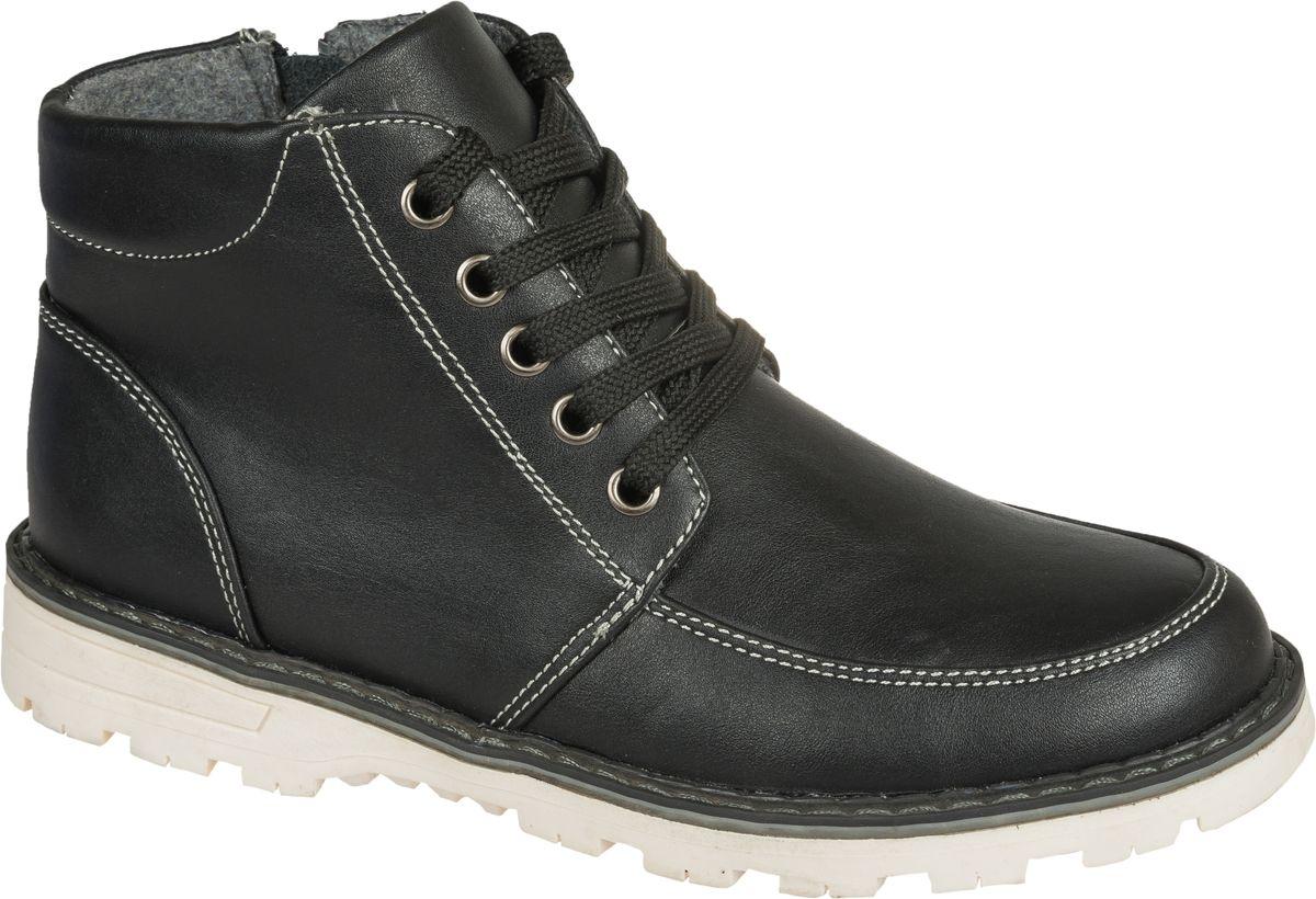 Ботинки для мальчика Mursu, цвет: черный. 202261. Размер 35202261Стильные ботинки от Mursu придутся по душе вашему юному моднику. Модель выполнена из искусственной кожи. Классическая шнуровка надежно зафиксирует ботинки на ноге. Подкладка и стелька из шерсти гарантируют тепло и комфорт при носке. Гибкая мягкая подошва обеспечивает идеальное сцепление с разными поверхностями.